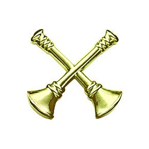 Department Lapel Pin - First Class Fire Department Bugle Captain 2 Rank Collar Lapel Pin Insignia (Pair) - Brass