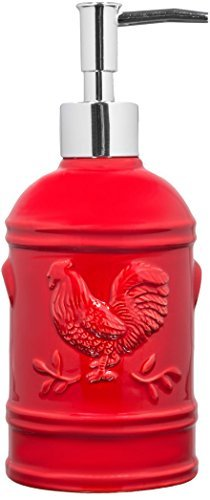 Red Ceramic Rooster Soap Dispenser- Lotion Dispenser for Kitchen or Bathroom Countertops in Red (Ceramic Rooster Red)