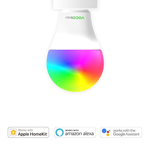VOCOlinc L1 Smart LED Light Bulb Works with Apple HomeKit & Amazon Alexa & Google Assistant · Full Colors & Whites · No Additional Hub Required · A19 E26 · Wi-Fi 2.4GHz (1 (Temperature Range Remote Bulb)