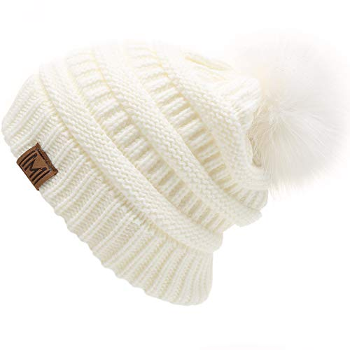 MIRMARU Women's Soft Stretch Cable Knit Warm Outdoor Skully Faux Fur Pom pom Beanie Hats (Off White) (Black Leather Hat With Fur Ball On Top)