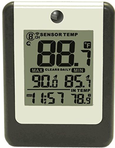 Ambient Weather WS-14-C Wireless Indoor/Outdoor 8-Channel Thermometer with Daily Min/Max Display, Console Only