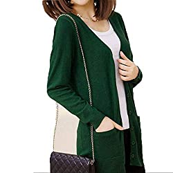 High End Wool Sweater Medium Long Cashmere Cardigan Women Loose Sweater Outerwear Coat With Pockets Small Blackishgreen