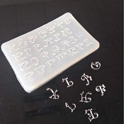 DHmart Rectangle Cabochon Silicon Pendant Molds for Epoxy Resin Crystal 26 Patterns Letter Mold Making Jewelry Tools Art Making DIY