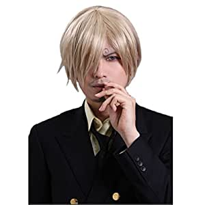 Angelaicos Halloween Cosplay Party Costume Wig for Sanji ONE Piece Short Blonde