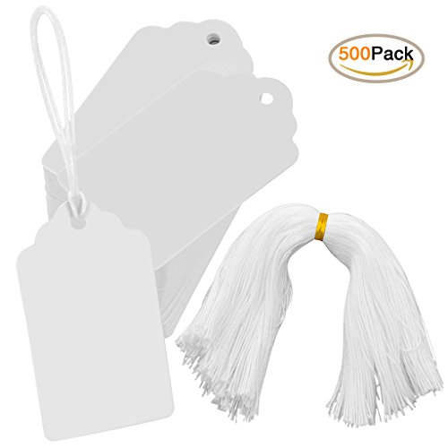 500pcs White Merchandise Tags Kraft Paper Blank Gift Tags, Nydotd Writable Marking Tags Price Display Tags with String for Product Jewelry Clothing Valentine Gifts(30 x 50 mm/1.18 x 1.97 inches) - Blank Merchandise Tag