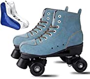 YYW Roller Skates for Women High Top Suede Roller Skates Shiny Light Up Four Wheels Double Row Roller Skates f