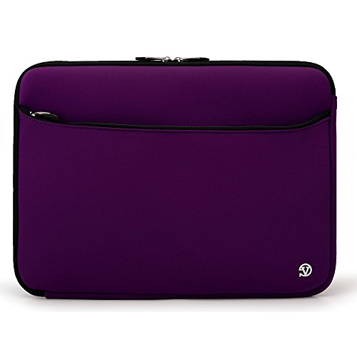 Microsoft Surface Book/Dell Latitude 12/Apple iPad Pro 11/Acer Aspire Switch 12 S Purple VanGoddy Neoprene Tablet Carrying Sleeve - 14 + Matching Headphones + Suction Cup Bluetooth Speaker