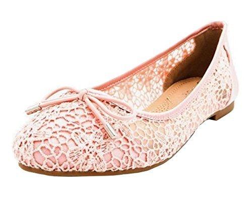 Bow Mesh Shoes K67 Ballet Ballerina Womens Pumps Rose Slip On Ladies Dolly Fashion SEqO51wWp