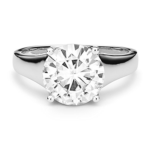 Forever Brilliant 9.5mm Moissanite Solitaire Engagement Ring - size 7, 3.10ct DEW By Charles & (Yellow Gold Created Moissanite Solitaire)