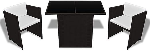 Xinglieu Juego de Mesa sillas de jardín de 7 Piezas en polirratán Marrón Juego de sillas y Mesa de jardín Mesa y sillas de jardín: Amazon.es: Jardín