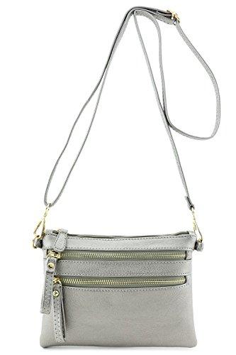Multi Zipper Pocket Small Wristlet Crossbody Bag (Light Pewter)