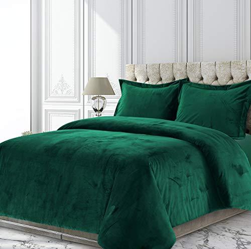 Tribeca Living VENICEDUVETTWEG Venice Velvet Oversized Solid Duvet Set, Twin, Emerald Green (Renewed) (Velvet Duvet Cover Black)
