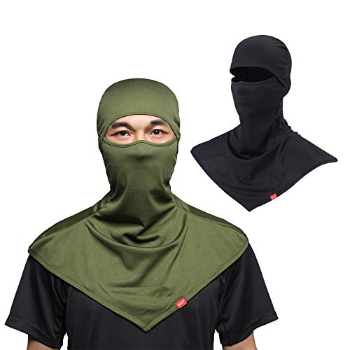 AIWOLU Balaclava Face Mask for Sun Protection Breathable Motorcycle Long Neck Covers in Summer for Men Hiking Fishing Trekking Walking (Black+Army Green) from AIWOLU