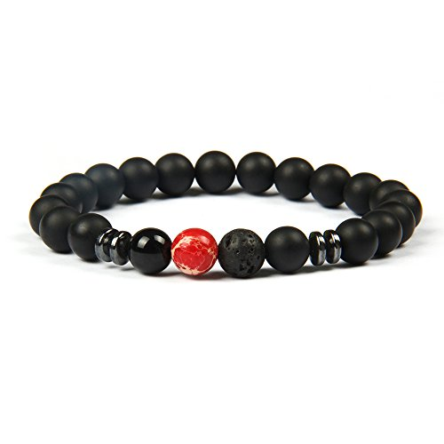 Good.Designs Chakra Pearl Bracelet Made of Onyx and Lava Stone Natural Stone Beads (red Marble) red Marbled marbledpearl Men's Bracelet Pearl Necklace Jewelry Stone ()