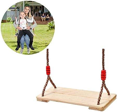 Sooiy Columpio de jardín de Madera Asiento de Columpio de Madera para Adultos Niños Niños Interior al Aire Libre Jugar Fácil de Instalar Swing: Amazon.es: Hogar