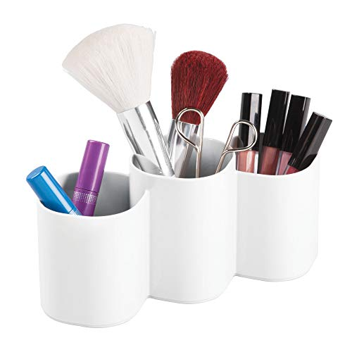mDesign Plastic Makeup Organizer Cup for Bathroom Vanity Countertop or Cabinet to Hold Brushes, Lipstick, Mascara, Brow Pencils, Eye Liners, Tweezers, Beauty Products, 3 Divided Compartments - ()