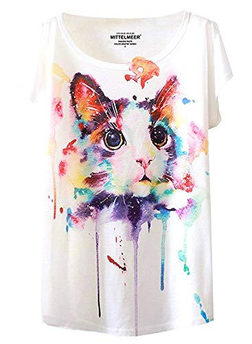 Colorful Cat (Futurino Women's Cute Cat Graphic Abstract Paint Splatter Casual T-shirt Top,White,X-Small / Small)