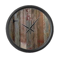 CafePress Rustic Western Barn Wood Large 17 Round Wall Clock, Unique Decorative Clock