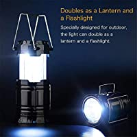 3-IN-1 Decorative Flame light Ultra Bright Flashlights Collapsible Survival Kit for Emergence 2018 UPGRADED HLZHOU 2 Pack Portable LED Camping Lantern, Outdoor Black Batteries Not included