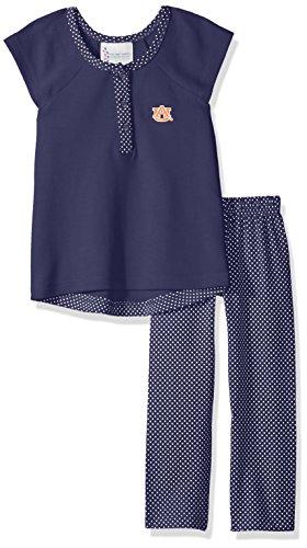 NCAA Auburn Tigers Children Girls Pin Dot Legging Set,4,Navy