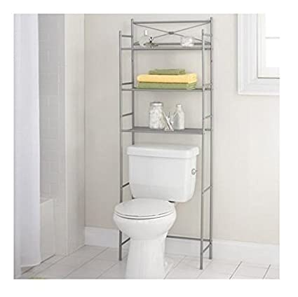 Awe Inspiring Mainstay 3 Shelf Bathroom Space Saver Storage Organizer Over The Rack Toilet Cabinet Shelving Towel Rack Satin Nickel Home Interior And Landscaping Ologienasavecom
