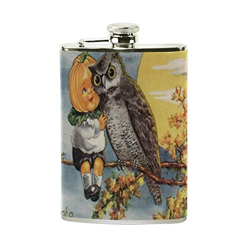 Flask Vintage Halloween Image Womens Hip Flask Stainless Steel Leakproof Flagon Mens Pocket Flasks Drinking of Alcohol, Whiskey, Liquor, Rum and Vodka