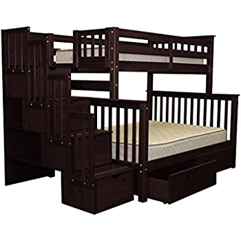 bedz king stairway bunk bed twin over full with 4 drawers in the steps and 2 under bed drawers cappuccino