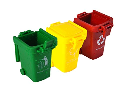 Knocbel Kids Mini Trash Cans Recycling Bins Garbage Truck Toy 3-Pack (Green Red Yellow) ()