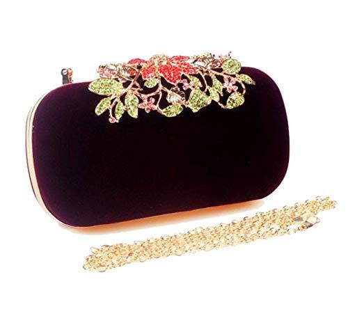 Soirée Robe À Winered Vintage Unique Bag Lady Sac Pochette Flower couleur Taille Main Clutch Winered De Handbag 8xgzqp