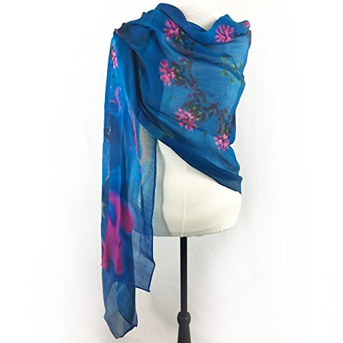 Turquoise, Aquamarine Blue & Hot Pink Floral Printed Cashmere Silk Scarf by Steady Threads Studio
