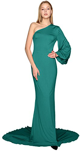 Formal One Sleeve Shoulder Teal Long Jersey Prom MACloth Mermaid Dress Evening Gown 6q7Bw8qnx