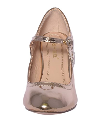 Chase & Chloe Womens Rund Tå Mid Hæl Mary Jane Pumps-sko Pumper Rose Gull
