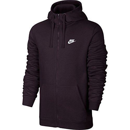 Nike Mens Sportswear Full Zip Club Hooded Sweatshirt Port Wine/White 804389-652 Size Large