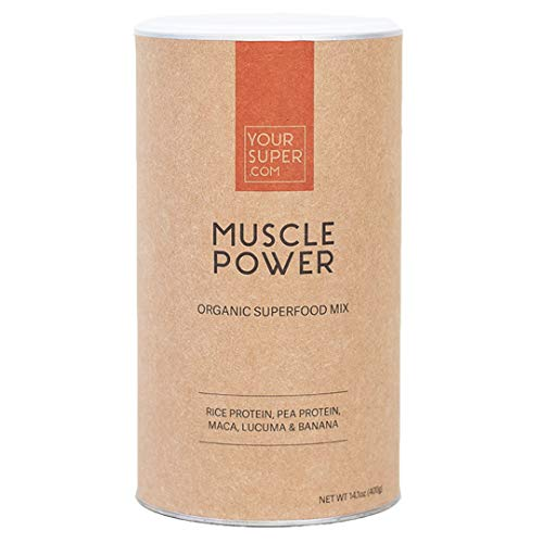 Muscle Power Superfood Mix by Your Super   Plant Based Protein Powder   Muscle Growth & Recovery with All 9 Essential Amino-Acids   Whey Alternative   Non-GMO, Organic Ingredients