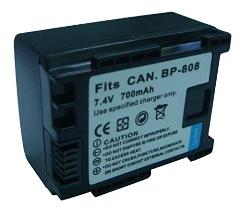 Rechargeable Lithium-Ion Battery Pack for Canon BP-808, BP-809 and Canon XA10, FS10, FS11, FS20, FS21, FS22, FS30, FS31, FS40, FS100, FS200, FS300, FS400 Flash Memory Camcorder and Canon VIXIA HF11, HF20, HF21, HF200, HG20, HG21, HF G10, HF G20, HF M30, HF M31, HF M32, HF M40, HF M41, HF M300, HF M301, HF M400, HF S10, HF S100, HF S11, HF S20, HF S200, HF S21, HF S30 Flash Memory - Memory Lithium Ion Camcorder Battery