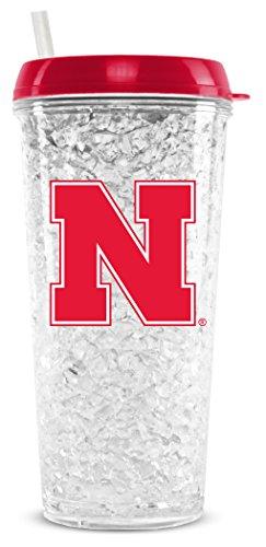 NCAA Nebraska Cornhuskers 16oz Crystal Freezer Tumbler with Lid and Straw ()