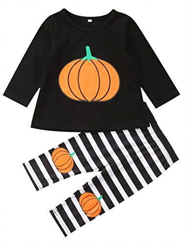 JELLYKIDS Pumpkin Outfits Baby Girl Infant Toddler Girl Long Sleeve Pumpkin Top + Stripe Trousers Halloween Costumes Size 18-24 Months/Tag100 (Black)