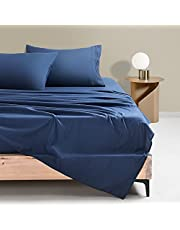 King Size 4 Pieces Bed Sheets Set Super Soft Brushed Microfiber 1800 Thread Count - Breathable Luxury Sheets Deep Pocket - Wrinkle Free and Hypoallergenic(Navy)