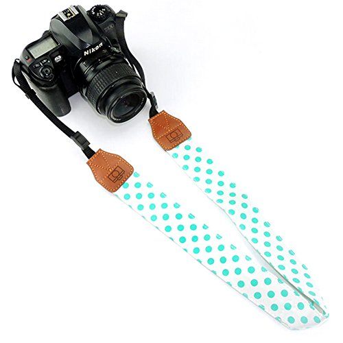 ieasysexy Camera Strap Sporty Camera Shoulder Strap Retro Camera with PU Scalp,fot the Trip,Hiking,Home and other (Blue and Green)