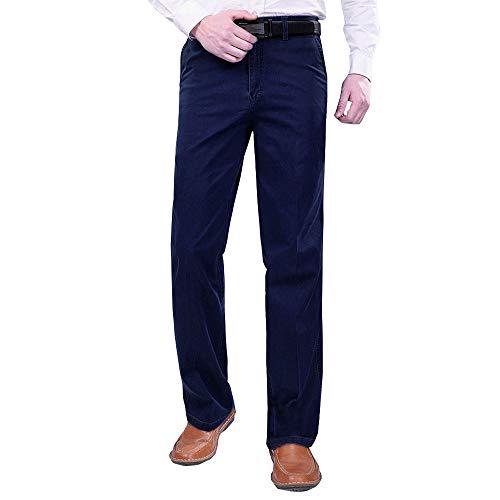 KINDOYO Pantalones de Hombre - Gruesos Pantalones Vaqueros de Tallas Grandes de Otoño e Invierno de Talle Alto para Hombres Azul Oscuro