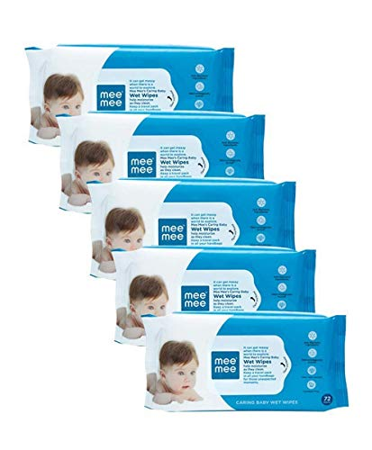 Mee Mee Caring Baby Wet Wipes with Aloe Vera Extract   5 Pack Combo  72Pcs