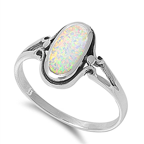 Oval White Simulated Opal Long Wide Ring New .925 Sterling Silver Band Size 6