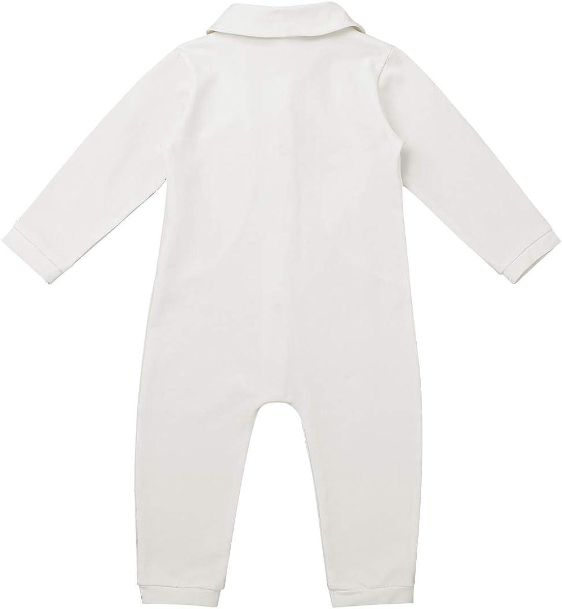 Haitryli Infant Baby Boys One Piece Long Sleeves Lapel Bowtie Romper Christening Baptism Suit