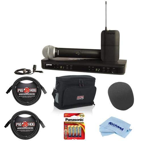 Dual Bodypack Wireless Instrument System - Shure BLX1288/CVL Dual-Channel Wireless Mic System, Includes Bodypack Transmitter, Dual-Channel Receiver, BLX2 Transmitter with Mic, CVL Lavalier Mic, H10: 542.125-571.800 MHz - With Accessory Bundle