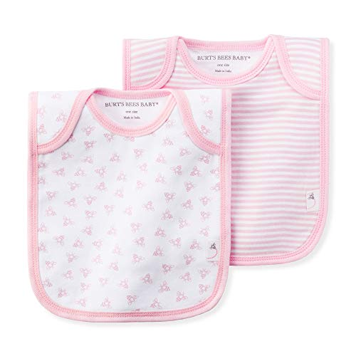 Burt's Bees Baby – Bibs, 2 Pack Lap-Shoulder Drool Cloths, 100% Organic Cotton with Absorbent Terry Towel Backing, Blossom, 2 Pack