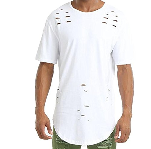 Fulok Mens Casual Hole Crew Neck Short Sleeve Ripped T-Shirt Tops White Small