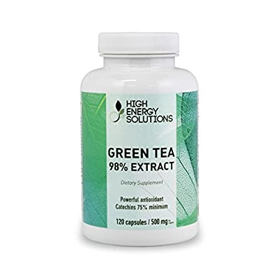 High Energy Solutions Green Tea 98% Extract Supplement 500 mg - Value Size - 120 Capsules 45% ECGC 75% Polyphenols Minimum, Natural Caffeine - GMP - USA - 100% Guarantee