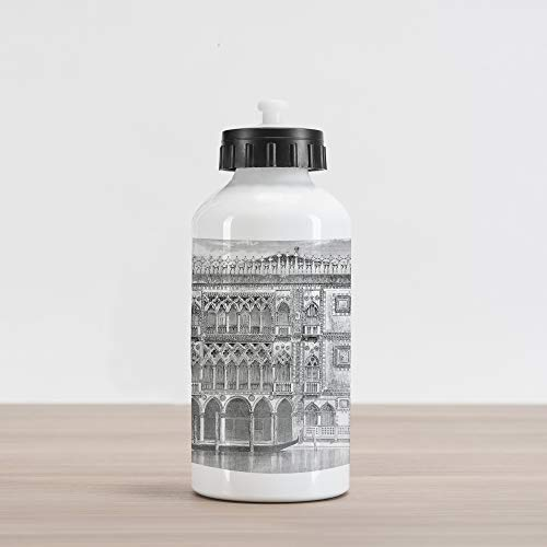 Lunarable Antique Aluminum Water Bottle, 19th Century Engraving of Grand Canal Venice Monument Landmark Illustration Print, Aluminum Insulated Spill-Proof Travel Sports Water Bottle, Black White