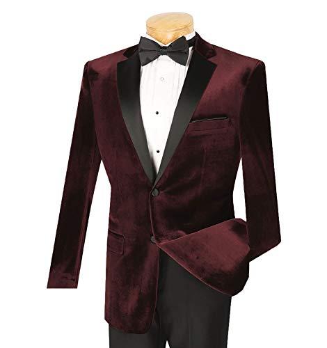 (VINCI Men's Velvet 2 Button Slim-Fit Formal Tuxedo Suit w/Sateen Lapel & Trim [Color: Burgundy | Size: 40 Regular / 34 Waist])