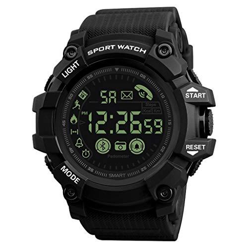XBKPLO Digital Watch for Mens,Bluetooth Sport Multifunction Round Waterproof Calendar Analog Military Wrist Watches Alarm Clock Silicone Strap